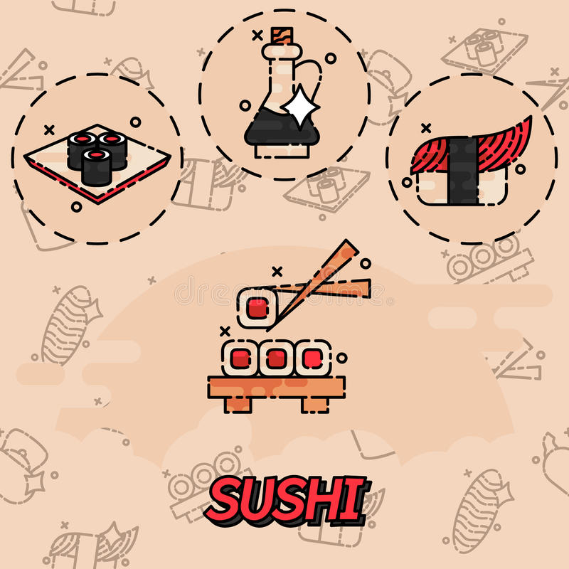 Sushi flat concept icons vector illustration