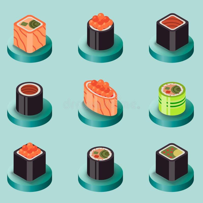 Sushi flat isomeric icons royalty free illustration