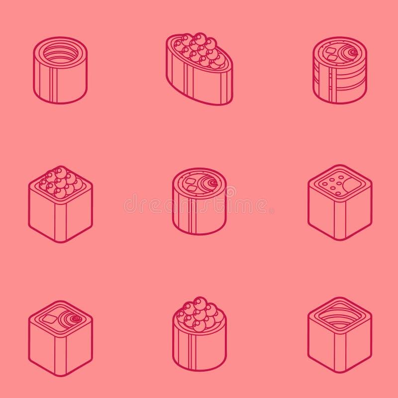 Sushi flat outline isomeric icons royalty free illustration