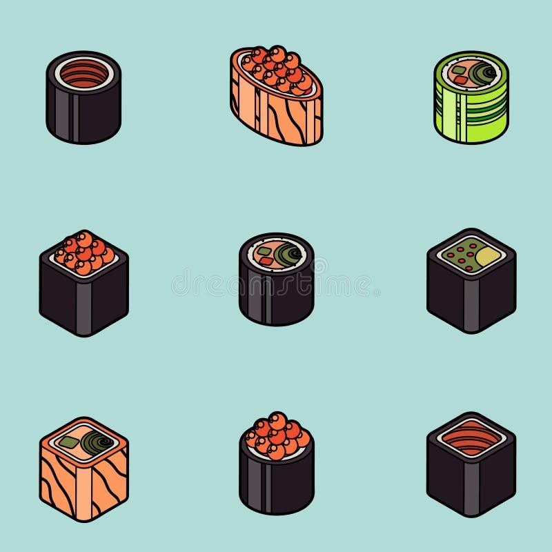 Sushi flat outline isomeric icons. Vector illustration, EPS 10 stock illustration