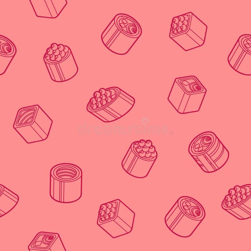 Sushi flat outline isomeric patten. Vector illustration, EPS 10 vector illustration