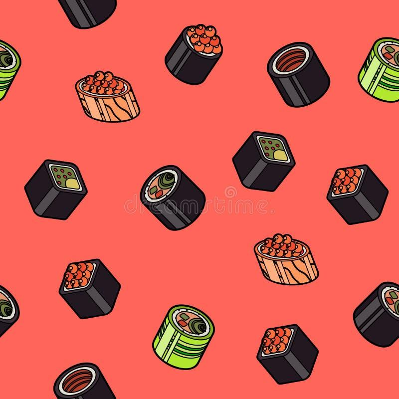 Sushi flat outline isomeric pattern. Vector illustration, EPS 10 vector illustration