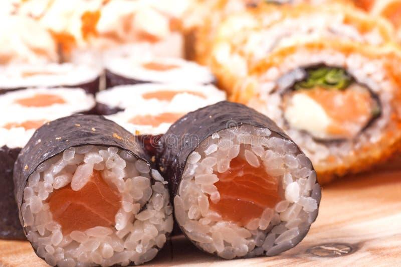 Sushi från fisk royaltyfri bild