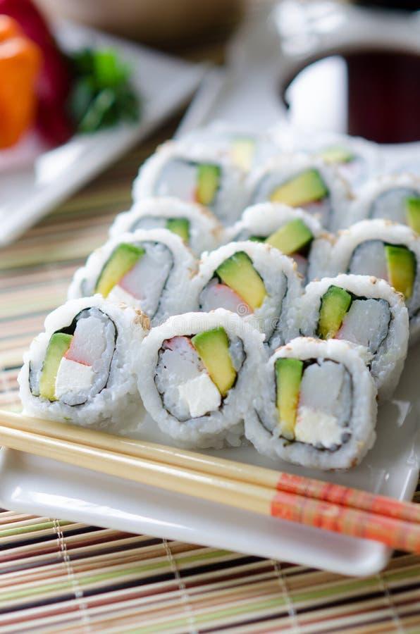 Sushi freschi California Rolls fotografia stock