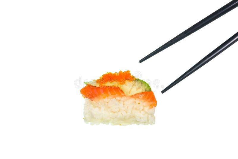 Download Sushi Freschi Con I Bastoncini Neri Su Fondo Bianco Immagine Stock - Immagine di verde, pesci: 55364583