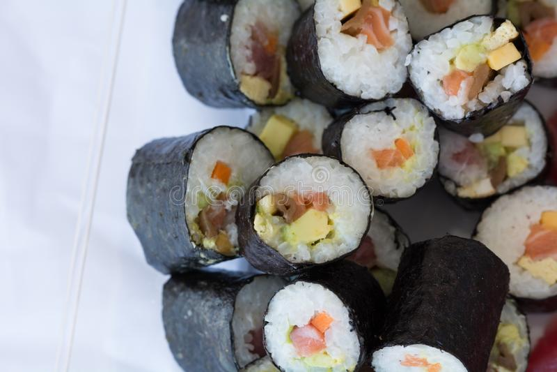Sushi fresh maki rolls, isolated on white stock photo