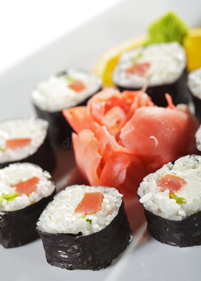 Sushi fumado de Maki do atum fotografia de stock
