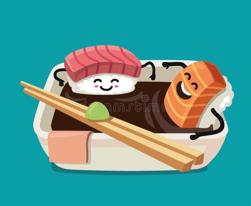 Sushi fun character in bath sauce. Vector flat illustration stock illustration