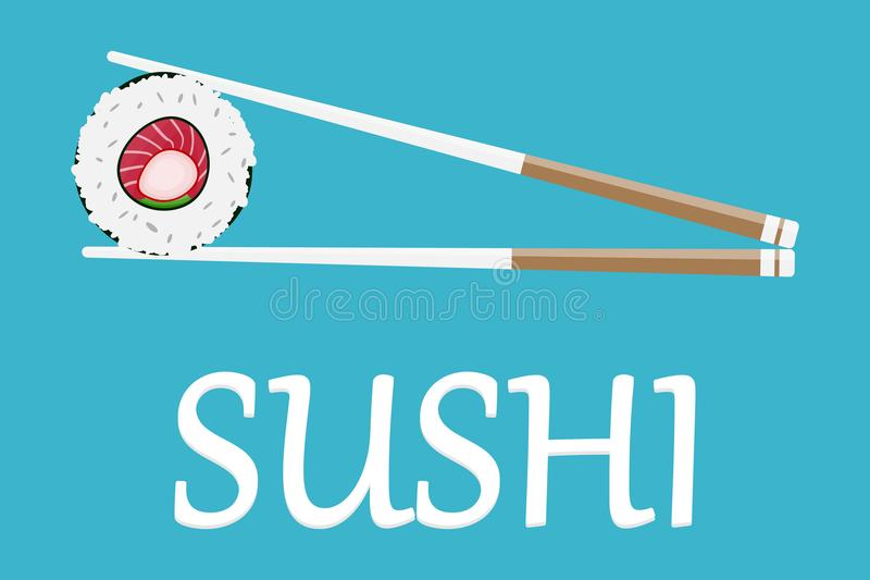 Sushi Giappone con due bastoni isolati Progettazione piana di stile di logo dei sushi Ristorante giapponese, alimento asiatico illustrazione di stock