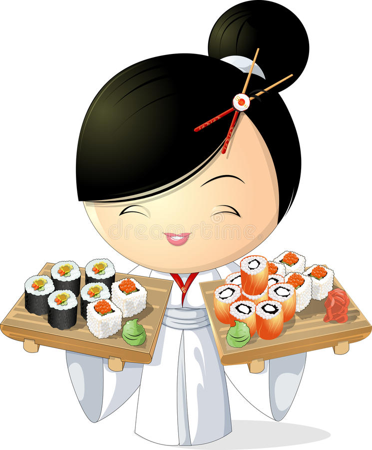 Sushi girl. Girl chef that keeps sushi in hand , on a white background royalty free illustration