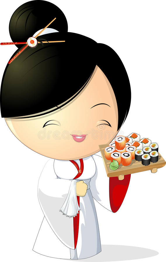 Sushi girl. Girl chef that keeps sushi in hand , on a white background stock illustration