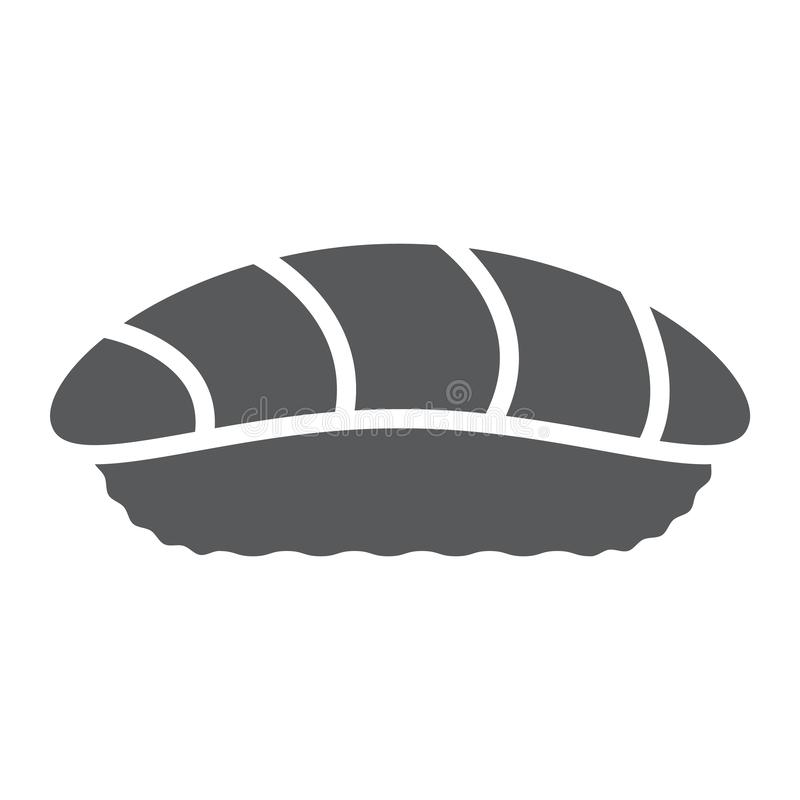 Sushi glyph icon, asian and food, seafood sign, vector graphics, a solid pattern on a white background. stock illustration