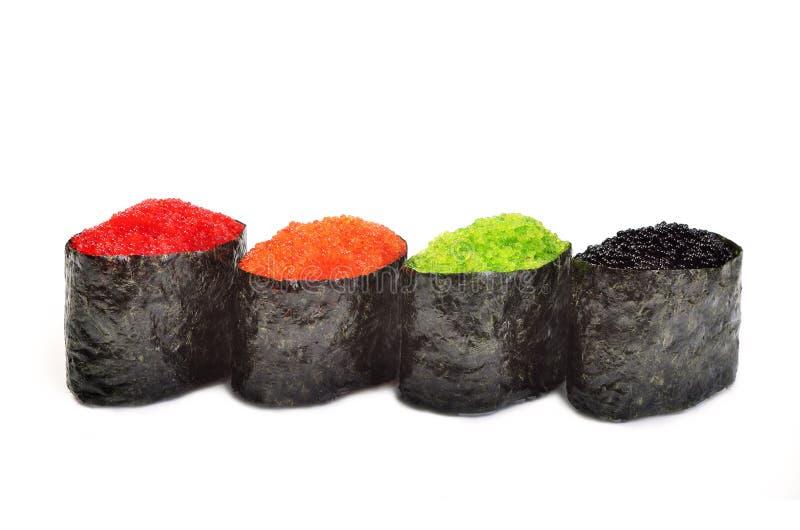 Sushi Gunkan Maki eingestellt mit tobiko lizenzfreie stockfotos