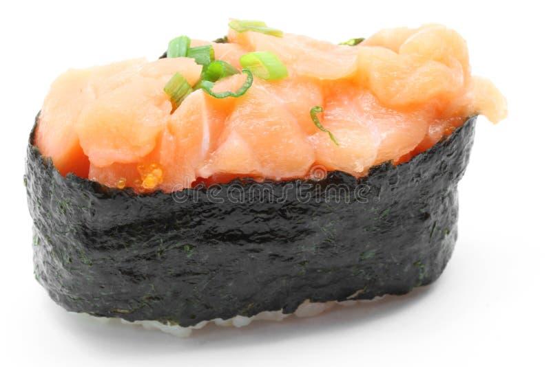 Sushi gunkan Uni salmon imagem de stock royalty free