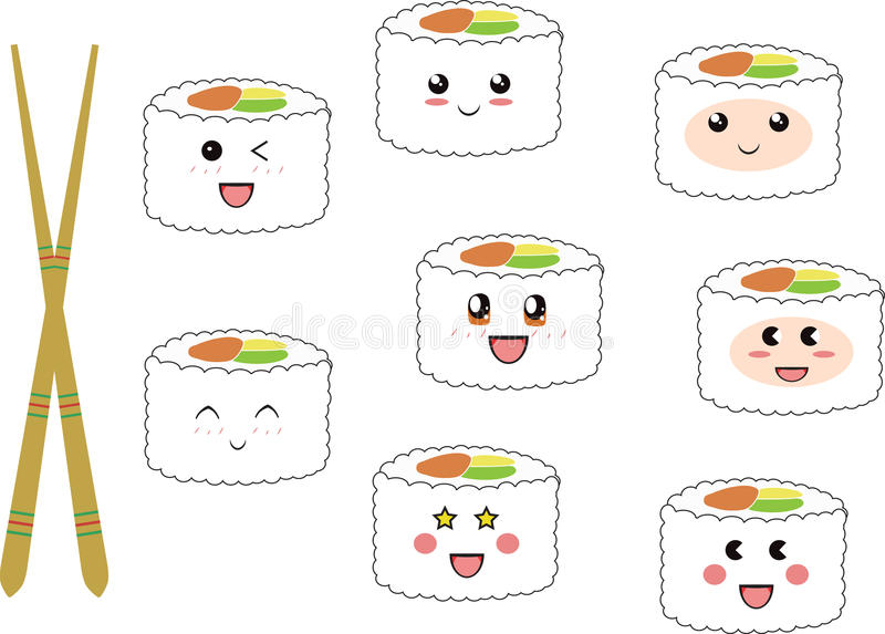 Sushi heureux photographie stock libre de droits
