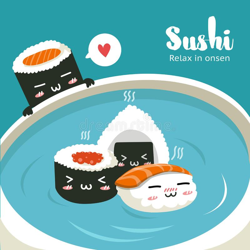 Sushi in Hot Springs soy sauce in big cup. Cute character sushi relax in hot springs soy sauce in big cup stock illustration