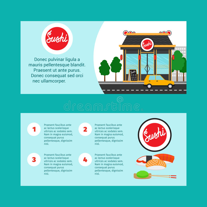 Sushi house horizontal flyers stock illustration