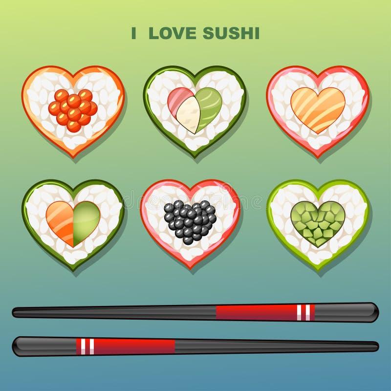 Sushi i formen av hjärta vektor illustrationer