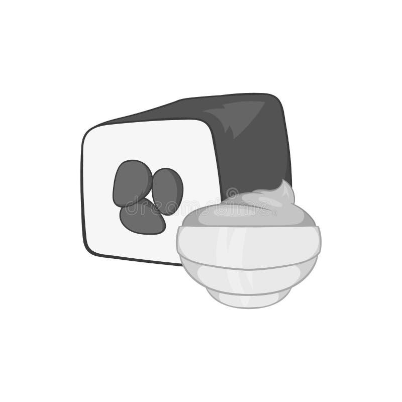 Sushi icon, black monochrome style. Sushi icon in black monochrome style isolated on white background. Food symbol vector illustration royalty free illustration