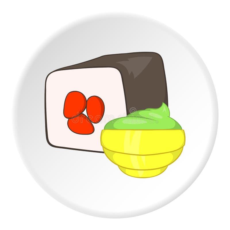 Sushi icon, cartoon style. Sushi icon in cartoon style isolated on white circle background. Food symbol vector illustration royalty free illustration