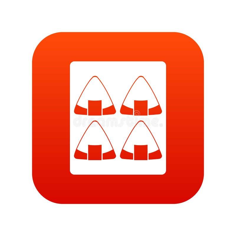 Sushi icon digital red vector illustration