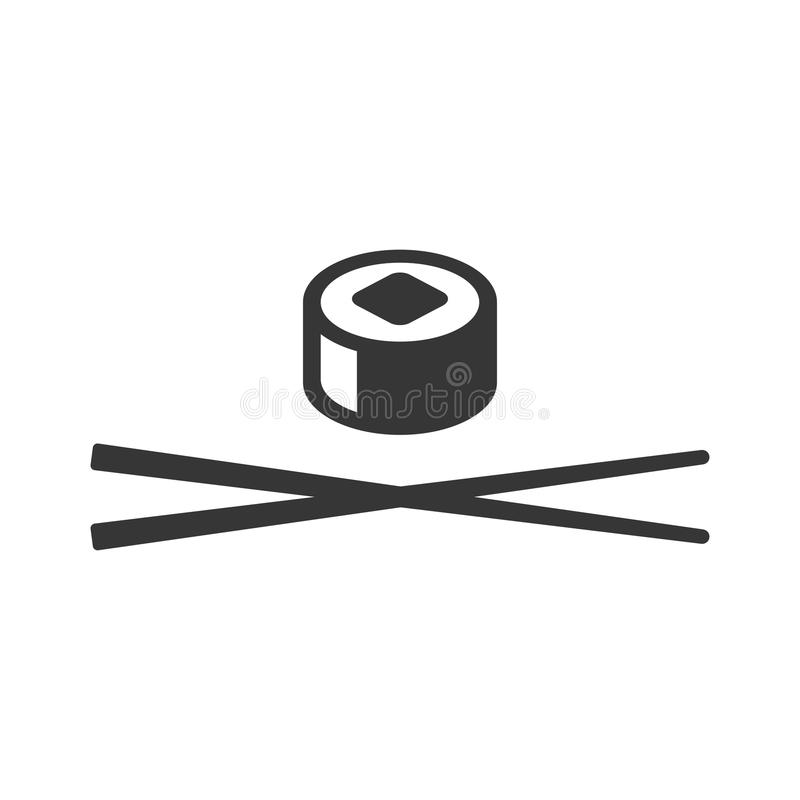Sushi Icon. Roll and Chopsticks Sign on White Background. Vector royalty free illustration