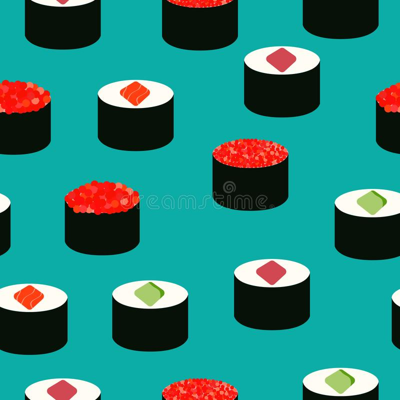 Sushi icons set. Asian food. Seamless pattern. Isometric icons. Flat style food vector illustration
