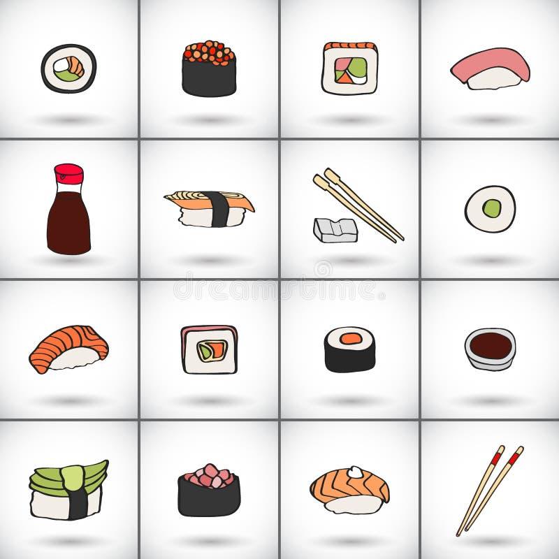 Sushi icons set. Hand-drawn collection of cartoon icons, japanese food - soy sauce, chopsticks, nigiri, gunkan, maki. Futomaki sushi. Doodle drawing. Vector royalty free illustration