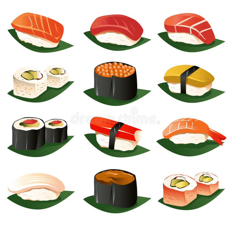 Sushi icons royalty free illustration