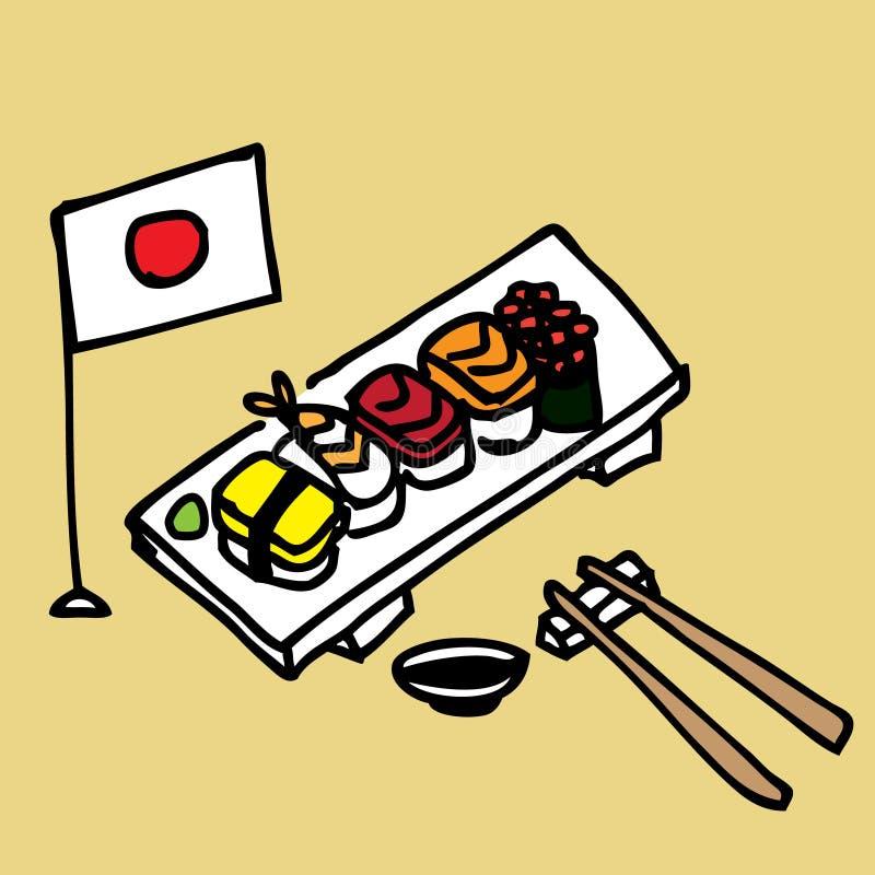 Sushi. Illustration of a set of hand draw sushi royalty free illustration