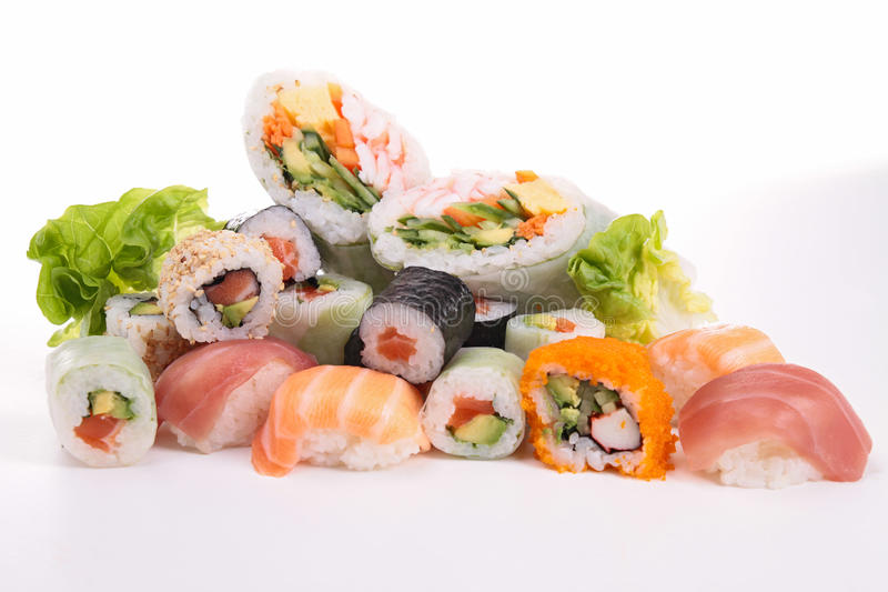 Download Sushi isolated on white stock image. Image of salad, nutrition - 29011893