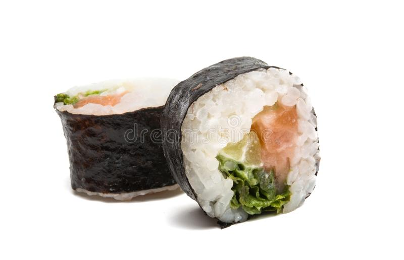 Sushi isolated. On white background royalty free stock images