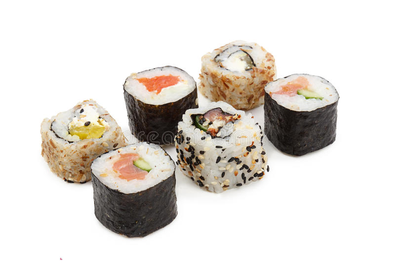 Sushi isolated on white background royalty free stock images