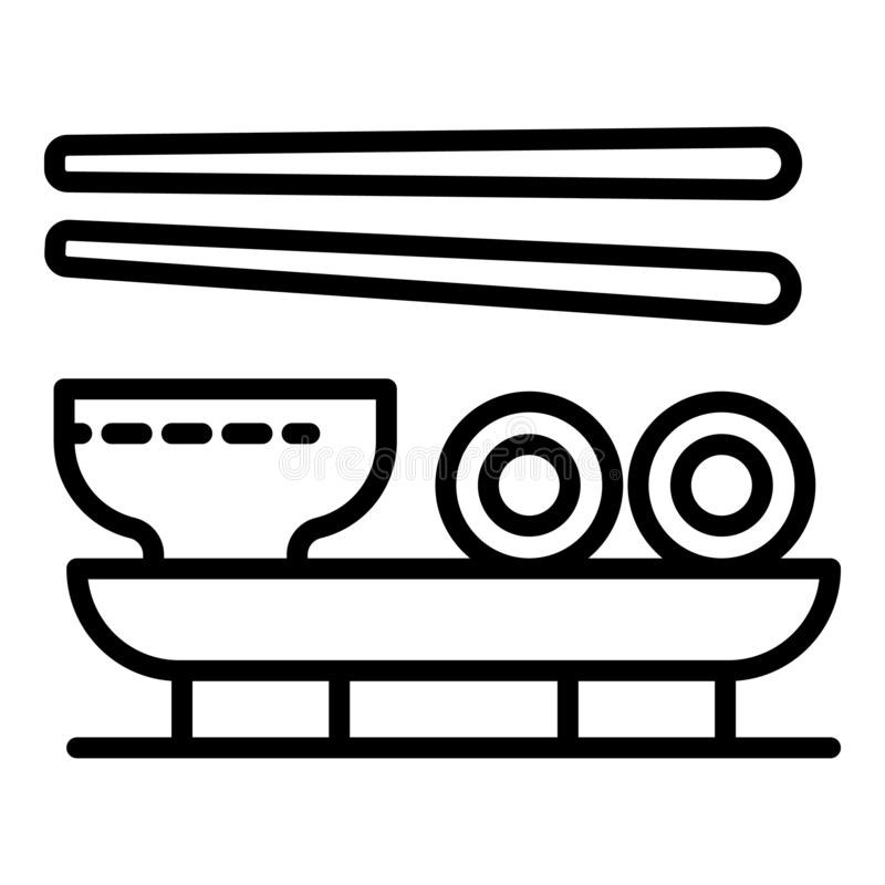 Sushi japan soup icon, outline style vector illustration