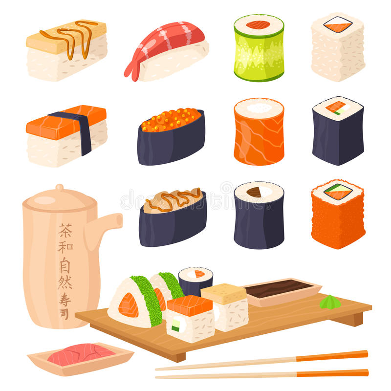 Sushi japanese cuisine traditional food flat healthy gourmet icons asia meal culture roll vector illustration. vector illustration