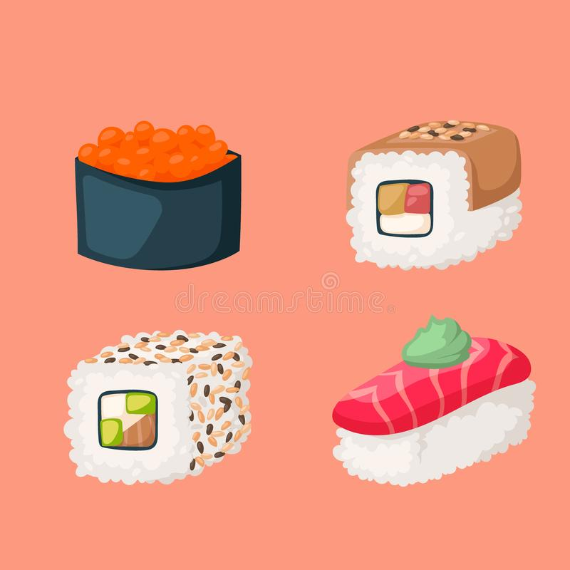 Sushi japanese cuisine traditional food flat healthy gourmet icons asia meal culture roll vector illustration. royalty free illustration