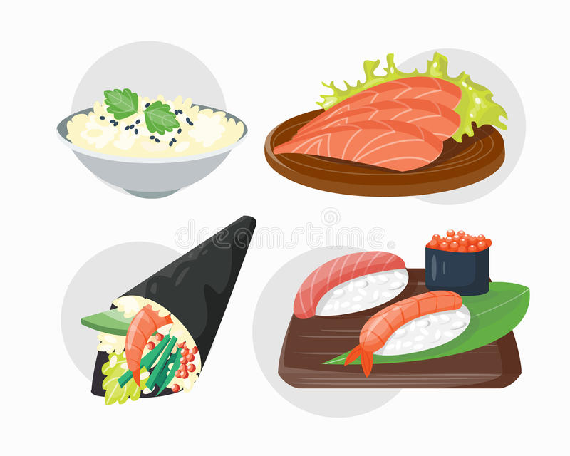 Sushi japanese cuisine traditional food flat healthy gourmet icons and oriental restaurant rice asia meal plate culture vector illustration