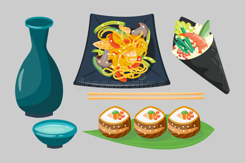 Sushi japanese cuisine traditional food flat healthy gourmet icons and oriental restaurant rice asia meal plate culture. Roll vector illustration. Fresh seafood vector illustration