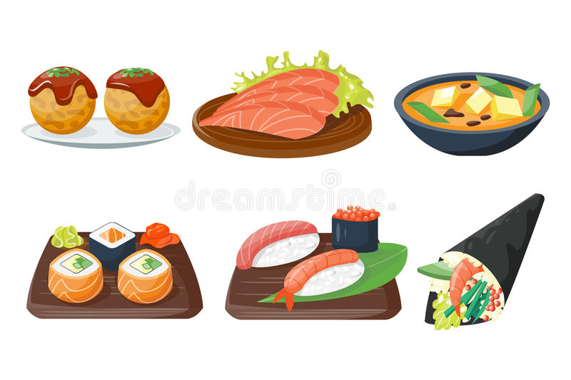 Sushi japanese cuisine traditional food flat healthy gourmet icons and oriental restaurant rice asia meal plate culture royalty free illustration