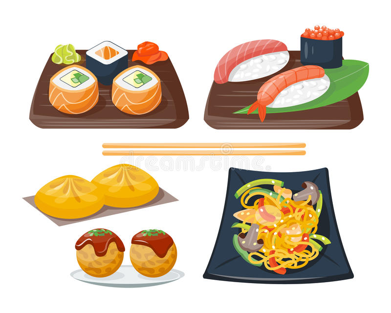 Sushi japanese cuisine traditional food flat healthy gourmet icons and oriental restaurant rice asia meal plate culture. Roll vector illustration. Fresh seafood stock illustration
