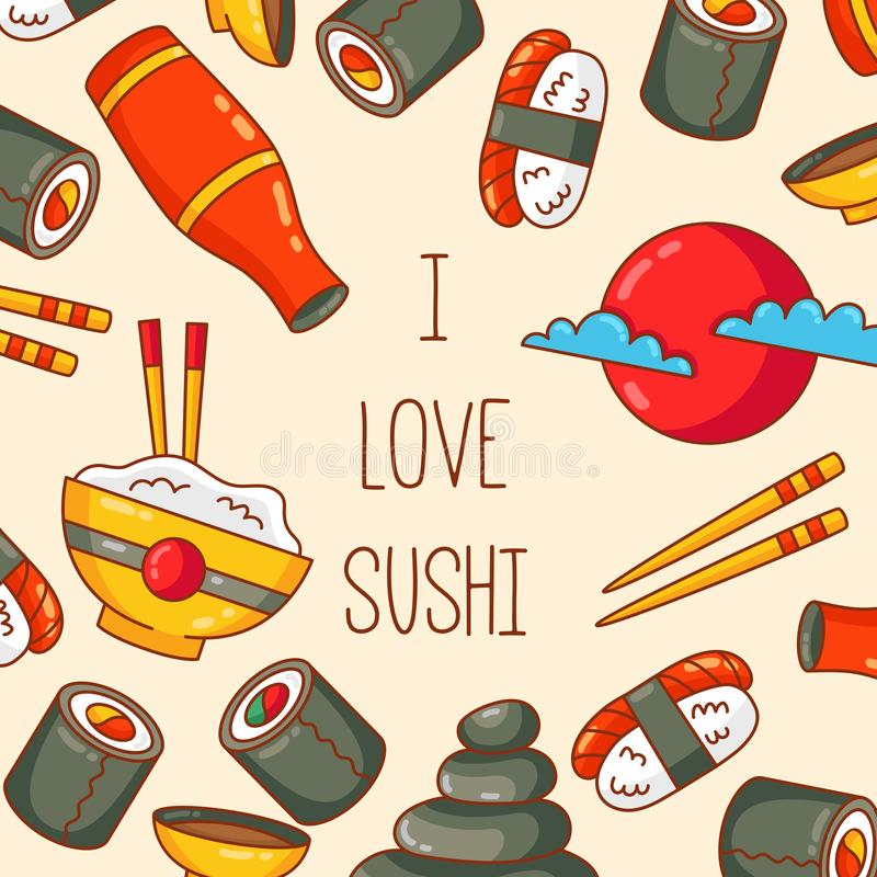 Sushi japanese food vector icons. Sushi food colorful japanese doodle vector icons banner template illustration vector illustration