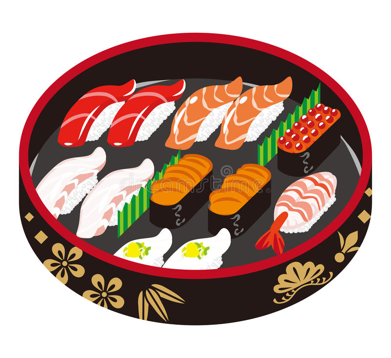Sushi -Japanese traditional plate vector illustration