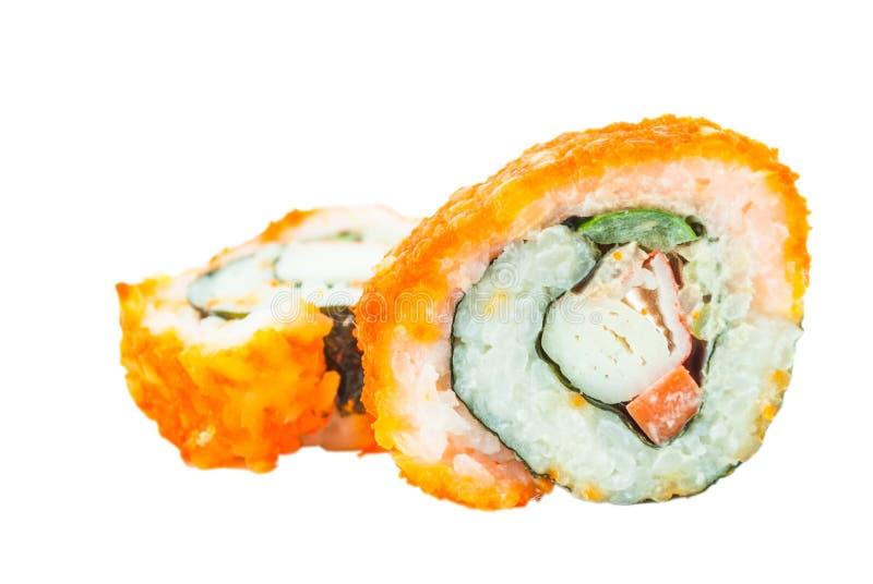 Sushi. Kalifornien rullcloseup fotografering för bildbyråer