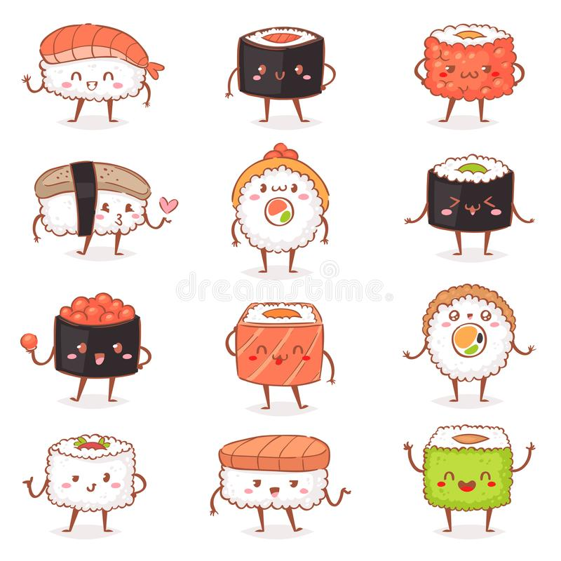 Sushi kawaiivector japanese food sashimi roll emoticon or nigiri emoji seafood with rice in Japan restaurant. Illustration Japanization cuisine with facial vector illustration