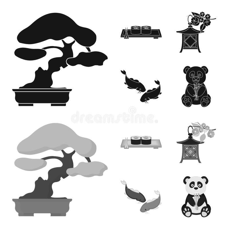 Sushi, koi Fische, japanische Laterne, Panda Gesetzte Sammlungsikonen Japans schwarzes, einfarbiges Artvektorsymbolauf lager vektor abbildung