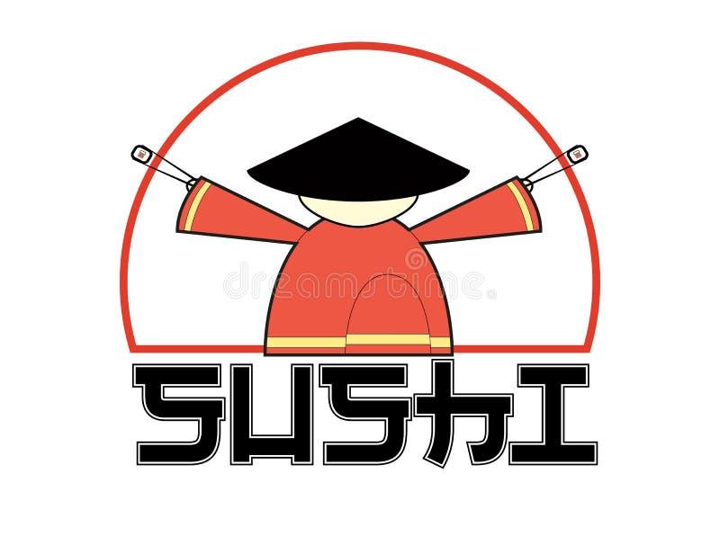 Sushi logo. Samurai holding chopsticks with sushi. Isolated illustration. Vector. I royalty free illustration