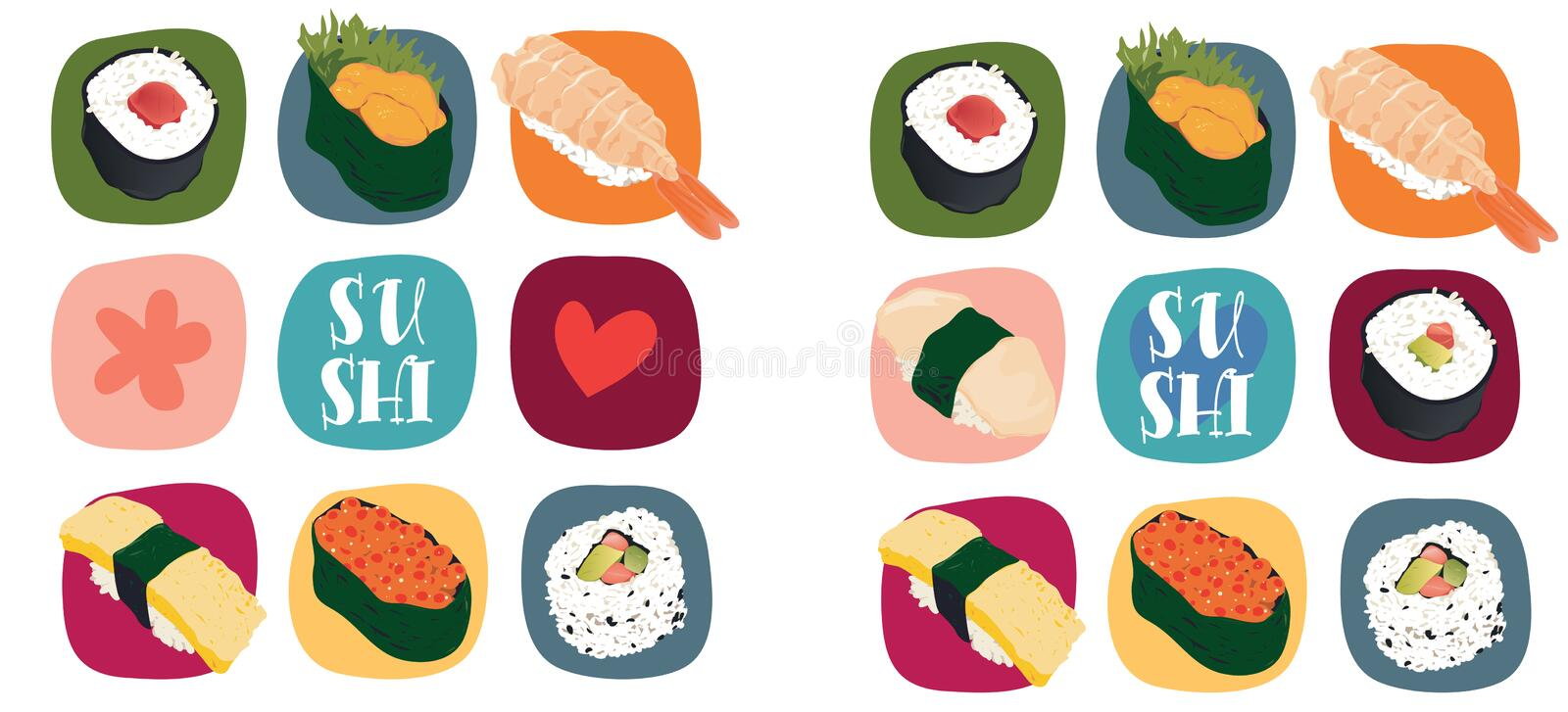 Sushi love. Illustration of various types of sushi