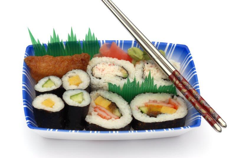 Sushi lunch box isolated on white royalty free stock image