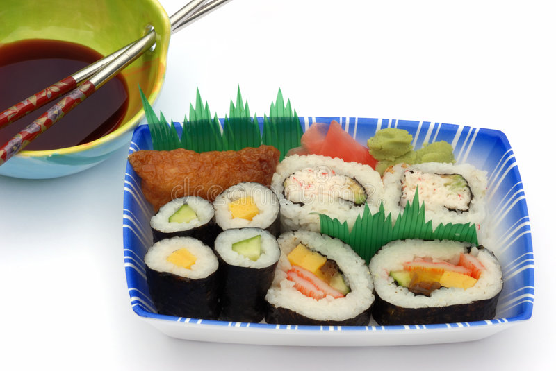 Sushi lunch box with soya sauce stock photos