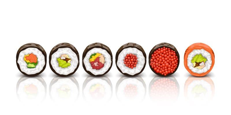 Sushi lying on white royalty free illustration